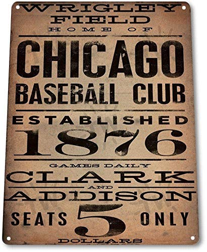 (FemiaD 8 X 12 Novelty Funny Sign Chicago Baseball Club Vintage Metal Tin Sign Wall Sign Plaque Poster for Home Bathroom and Cafe Bar Pub, Wall Decor Car Vehicle License Plate Souvenir)