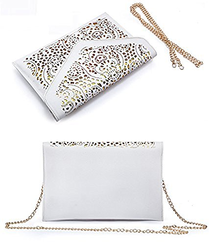 Summer Flowers Womens Hollow Envelope Neon Clutch Faux Purse khaki Leather White pHwqwAFPc1