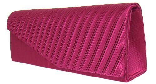 Elegante Satin Abendtasche Clutch, 26x9 cm, Pink