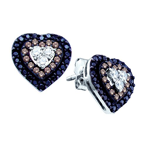 14K White Gold Brandy Diamond Chocolate Brown & Black Diamond Mission of Love Heart Earrings 1/2 Ctw. by Brandy Diamond (Image #3)'