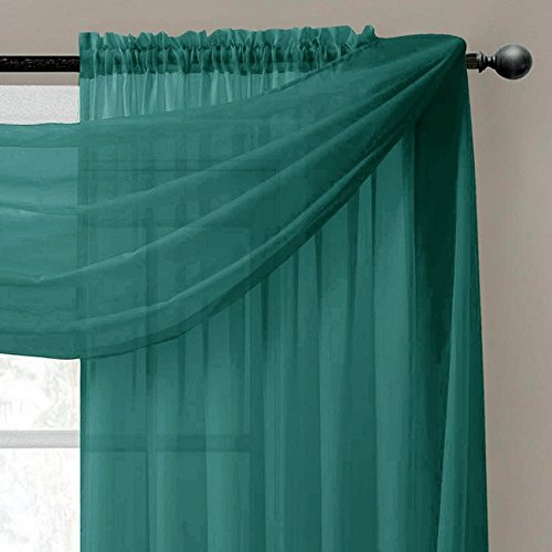 (GorgeousHome 1 Hunter Green Swag Valance Scarf For Wedding Table Chair Window Wall Church Decor Pole Voile Fabric Size (6 YARD) 216 Inches Long)