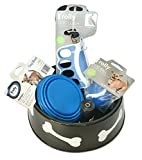 Puppy Dog Gift Bowl Set containing, Brolly Soft Grip Leash, Portable Expandable Hooked Water Bowl, Rubber Fetch Rubber Ball, Waste Bags, Large Dog Bowl Wrapped as Gift.