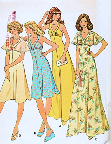 Mod Hippie Dress - McCall's 4534 Misses High Waisted, Back Zipper Dress with or W/O Cape Sewing Pattern Vintage 1975 Check listing for size