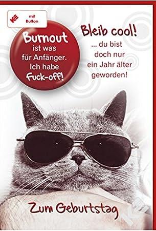 Geburtstagskarte Fur Manner Frauen Bleib Cool Mit Button Inkl