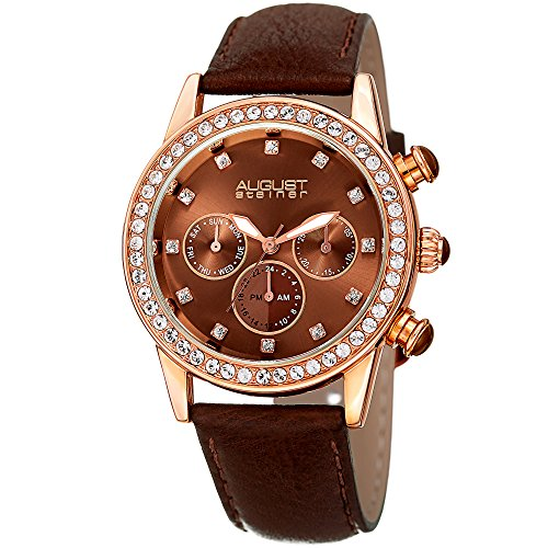 August Steiner Women's Stainless Steel Quartz Watch with Leather Strap, Brown, 19 (Model: AS8236BR) ()