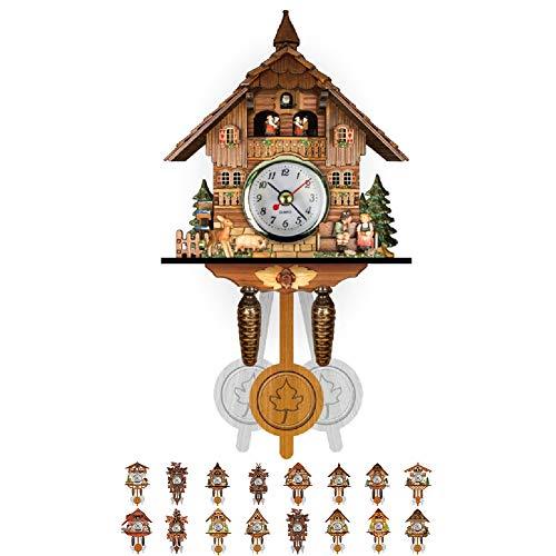 NANANA Vivid Large Cuckoo Clock Wall Cuckoo Clock, Cuckoo Clock Movement Chalet-Style, Authentic Black Forest Cuckoo Clock, 115×225×50Mm,#6