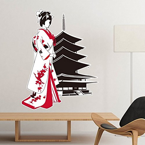 Japan Culture Japanese Style Red Black Kimono Girl Temple Silhouette Art Illustration Pattern Removable Wall Sticker Art Decals Mural DIY Wallpaper for Room Decal ()