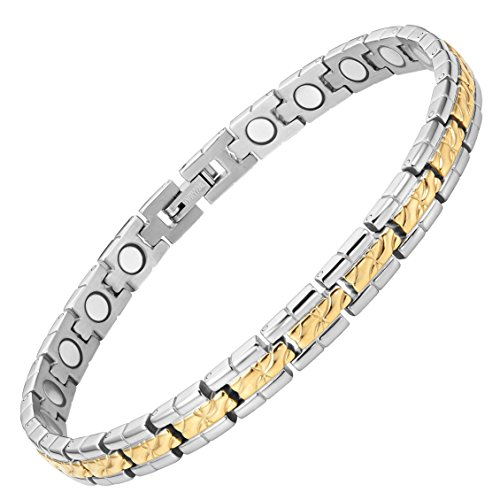 Womens Titanium Magnetic Therapy Bracelet for Arthritis Pain Relief Size Adjusting Tool and Gift Box Included By Willis Judd by Willis Judd