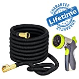 Strongest Expandable Garden Hose with Brass Fittings-Includes Spray Nozzle 50ft Retractable, Flexible, Never Kink, Lightweight Portable Water Hoses. Use for Gardening, RV Accessories Pressure Wash