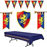 Set the scene for a Middle Ages party with these colorful decorations....Bundle of 5 items: Medieval Party Decorations - 2 Cardboard Herald Trumpets, Crest, Plastic Pennant Banner and Tablecover