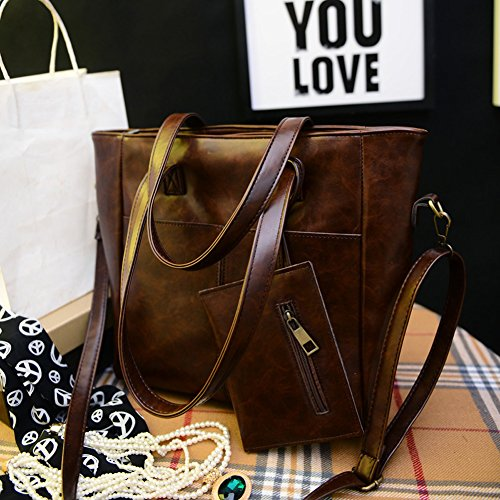 Autumn Brown Women Leather Mini Clutch New Demiawaking 2pcs Large Retro Dark PU Handbag Winter Bag 4TBcRcApq