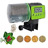 MQ Automatic Fish Feeder, Fish Food Dispenser Auto Timer Aquarium Tank Feeder 2019 New Upgrade with 1Pcs Betta Fish Spawning Leaf Hammock Smart Programmable Digital LCD Large Capacity for Fish Turtle