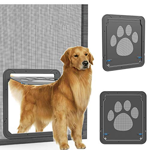 (OWNPETS Dog Screen Door, Lockable Pet Screen Door, Magnetic Self-Closing Screen Door with Locking Function, Sturdy Screen Door for Dog)