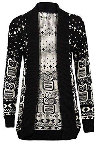 Womens Plus Size Drape Aztec Owl Print Knitted Open Cardigan Jumper Top
