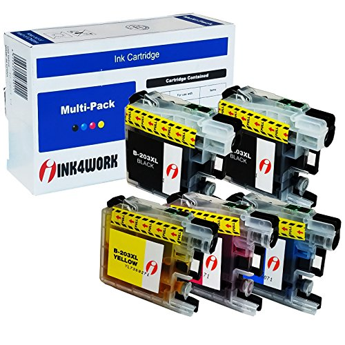INK4WORK 5 Pack Compatible Ink Cartridge Replacement for Brother LC203 XL LC203XL LC-203 for MFC-J460DW MFC-J480DW MFC-J485DW MFC-J680DW MFC-J880DW MFC-J885DW (2 Black, 1 Cyan, 1 Magenta, 1 Yellow)