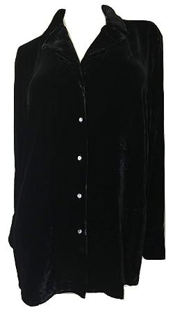 f03d0451dfd Lauren Ralph Lauren Women's Palais Ryle Velvet Long Sleeve Shirt, Black, Plus  Size (