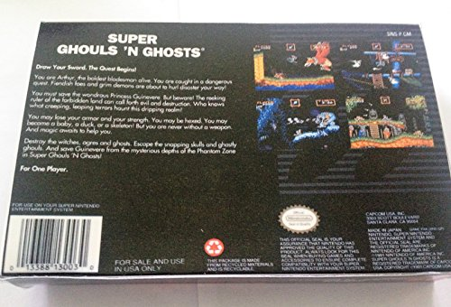 Super Ghouls 'n Ghosts (Super Nintendo, SNES) - Reproduction Video Game Cartridge with Replica Miniature Box and Glossy Manual