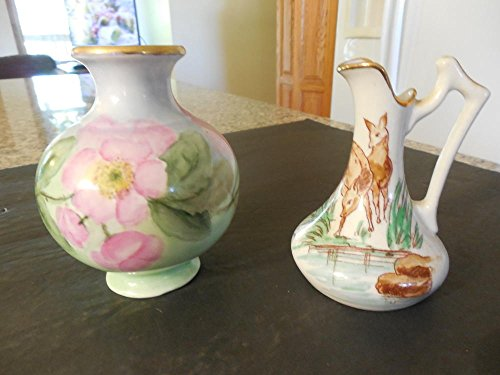 Rare Vintage Small Porcelain Hand Painted Vases Signed by Artist, Limoges (Signed Limoges)