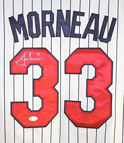 (Justin Morneau Minnesota Twins Signed Autographed White Pinstripe #33 Jersey JSA COA)