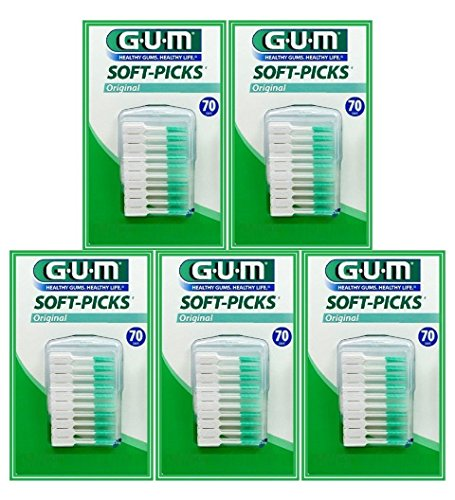 Sunstar GUM Soft-picks with Convenient Travel Cases, 5 Packs, 350 Picks