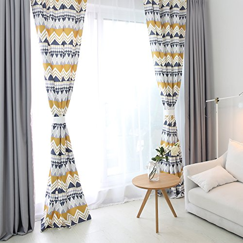 Melodieux Geometric Print Nordic Style Light Filtering Grommet Top Curtains/Drapes, 52 by 84 inch (1 Panel) Geometric Curtain