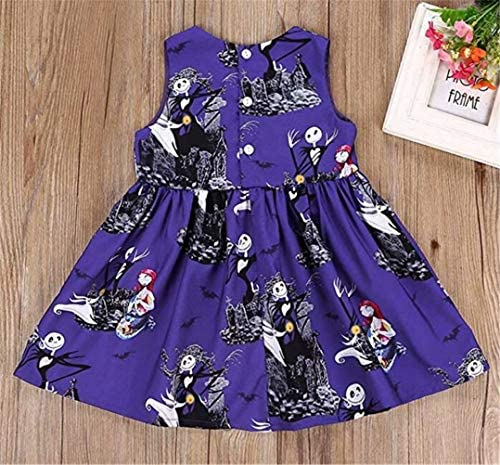 KIDDAD Toddler Baby Girls Halloween Ghost Skull Zombie Print Party Dress Sundress All Saints Day Sundress