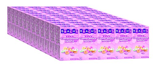 Brach's Tiny Conversation Hearts Candy, 5 Count Hand Out Boxes, Pack of 12 (Box Heart Valentine)