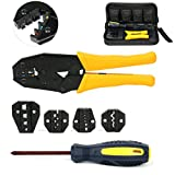 Yaetek hand striper Cable Crimper Tool Wire Crimpers connector Terminal Ratchet Plier Set, Crimping Tool Kit with 5 Changeable Die Sets in Oxford Bag
