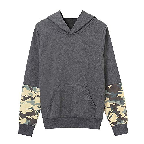 Gobao Women Blouse Long Sleeve Camouflag Patchwork Sweatshirt Pullover Top (S, Gray)