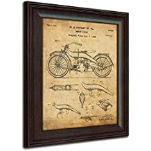 Original Harley Davidson Motorcycle Patent Art Poster Print - Framed Behind Glass 14x17