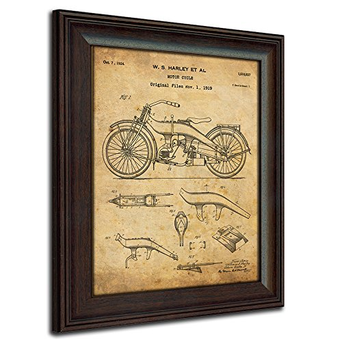 Original Harley Davidson Motorcycle Patent Art Poster Print - Framed Behind Glass 14x17 -