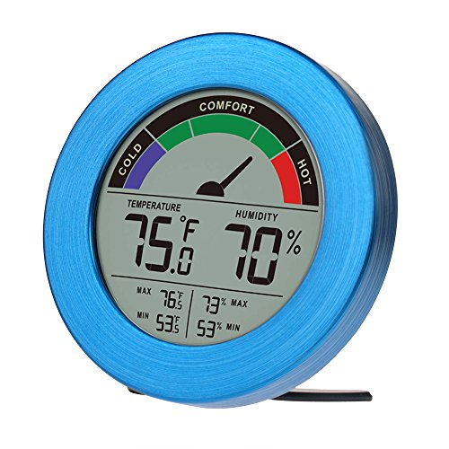Thermometer & Hygrometer Weather Station with Color Comfort Meter in Metal Casing (BLUE)