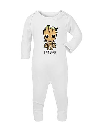 da93c8d1d SMARTYPANTS I am Groot Babygrow Baby Long Sleeve Sleepsuit Romper ...