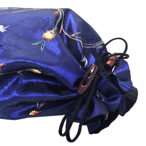 519QmFUPafL - Wrapables Beautiful Embroidered Silk Travel Bag for Lingerie and Shoes, Dark Blue