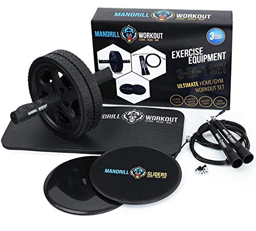 3-In-1 AB Wheel Roller Kit (Knee Pad Included) + Jump Rope (Extra Cable & Accesories) + Gliding Discs - Home workout equipment - Perfect for Abs, Core, Legs, Arms and Cardio Workout - 3 Years Warranty ()