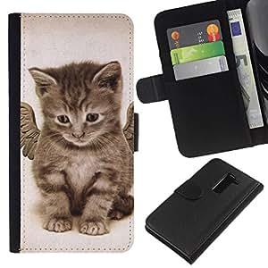 All Phone Most Case / Oferta Especial Cáscara Funda de cuero Monedero Cubierta de proteccion Caso / Wallet Case for LG G2 D800 // Angel Kitten Wings Cute House Cat Pet