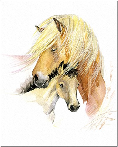 """7Dots Art. Mom and baby. Watercolor Art Print, poster 8""""x10"""" on Fine Art thick Watercolor paper for childrens kids room, bedroom, bathroom. Wall art decor with Animals for boys, girls. (Horses)"""