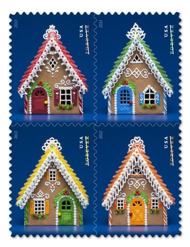 USPS Forever Postage Holiday Gingerbread Houses -- Booklet of 20 (Postage For 2017 Stamps Christmas)