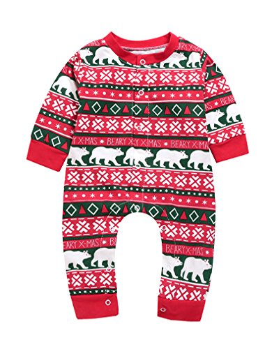 Christmas Tree Costume Toddler (Imsmart Unisex Baby Christmas Print Costume Bodysuit Long Sleeve Winter Footed Romper Onesie Onepiece (Red, 100(12-24M)))