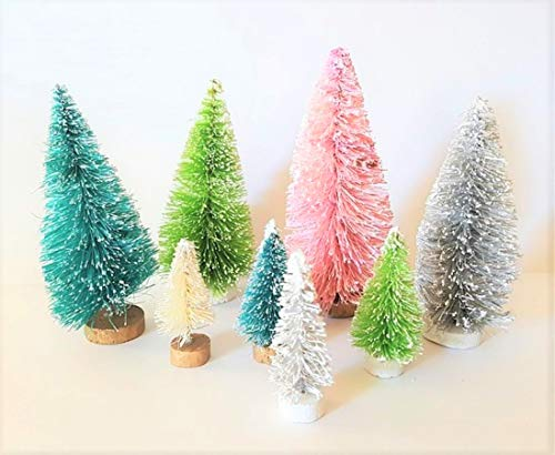 (Very Vintage N More LOT of 8 Mini Multi Assorted Color Pink Green Grey Miniature Sisal Bottle Brush Snow Village Christmas Trees)