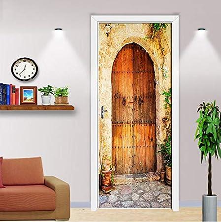 PVC Autoadhesivo Etiqueta De La Puerta Calle Retro Puerta De Madera 3D Puerta Corredera Wallpaper Sala De Estar Dormitorio Etiqueta Engomada De La Pared Decorativa Casera: Amazon.es: Hogar