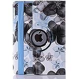 Tgk Flower Print Design 360 Degree Rotating Leather Smart Case Cover Stand (Auto Sleep/Wake Function) For Apple Ipad 2/3/4- Black