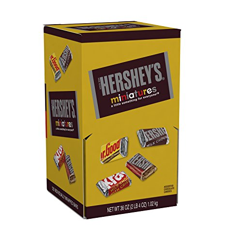 HERSHEY'S Chocolate Candy Bar Assortment, Miniatures (Hershey's, Krackel, Mr Goodbar, Special Dark), 36 Ounce]()