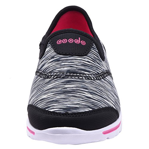 COODO - Zapatillas de running para mujer BLACK/FUCH