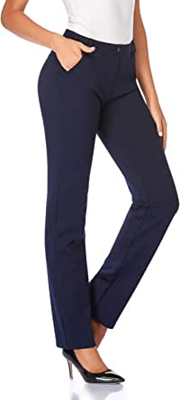 Tapata Mujer 76cm/81cm/86cm Pantalones Pierna Recta Elásticos con Bolsillos, Pequeño/Regular/Alto para Oficina Negocios Casual
