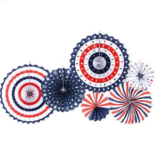 (4th of July Patriotic Decorations Decor Spiral Ribbon Paper Fans for School Garden for Memorial Day, Flag Day, Veterans Day, Independence Day Decorations)