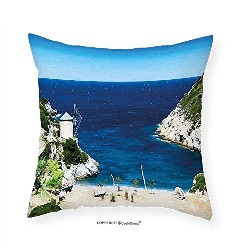 Cove Needlepoint (VROSELV Custom Cotton Linen Pillowcase Beach Rocky Sandy Cove North of The Old Town Alonissos Calm Seascape Idyllic Scenery for Bedroom Living Room Dorm Blue White Green 18