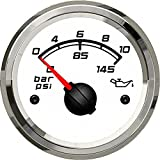 SEAWELL Kus Marine Oil Pressure Gauge Boat Car RV Engine Outboard Electric Pressure Gauge 0-10Bar 52mm 12/24V (White)