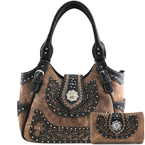 (Justin West American Albino Floral Embroidery Buckle Shoulder Concealed Carry Handbag Purse (Brown Brown Purse and Wallet Set))