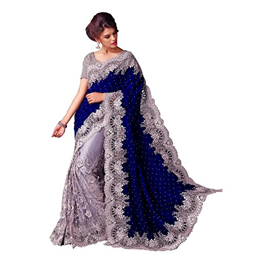 Ustaad-Fashion-Womens-Blue-and-Silver-Velvet-and-Net-Saree-with-Blouse-Piece